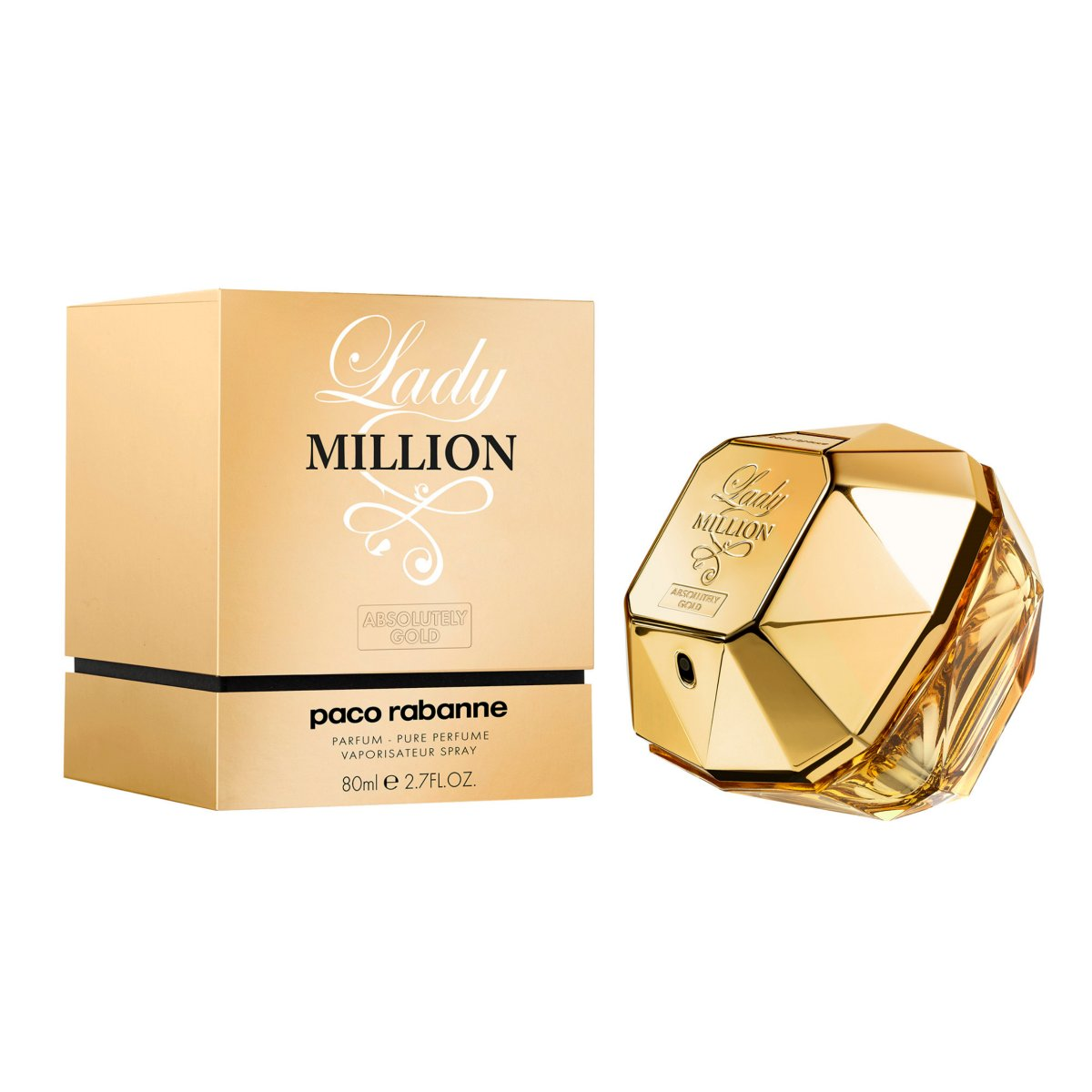 paco rabanne lady million absolutely gold eau de parfum 80ml. Black Bedroom Furniture Sets. Home Design Ideas